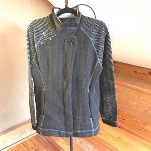 Ascend Gray Black Wool Fleece Jacket, EUC, L